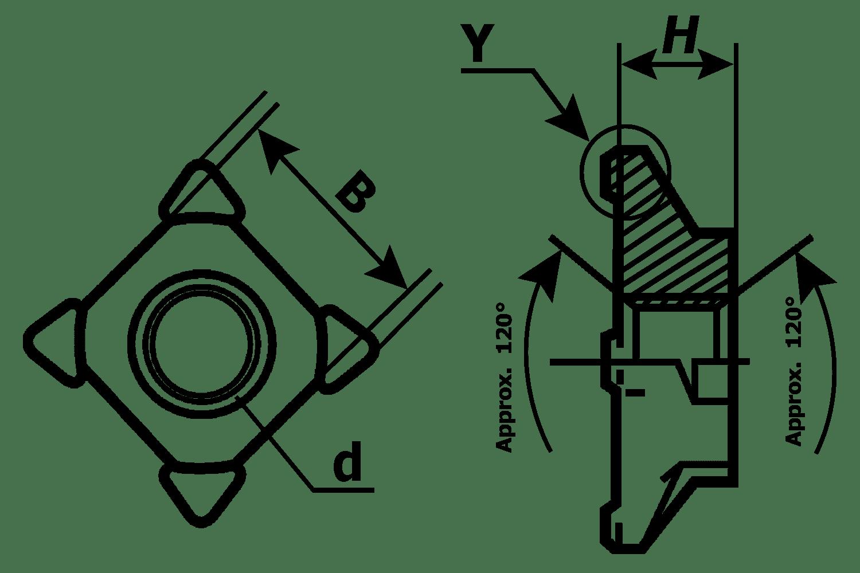 หัวน็อตอ๊าคสี่เหลี่ยม สแตนเลส
